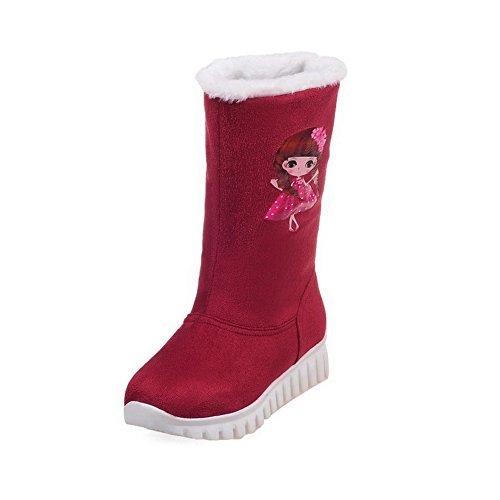 AgooLar Damen Ziehen auf Rund Zehe Niedriger Absatz Mattglasbirne Rein Stiefel Rot
