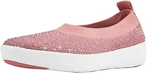 FitFlop Women's Uberknit Slip-On Ballerina Dusky Pink/Soft Grey 6.5 M US M (B)