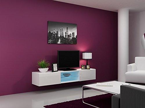 Jadella TV Board Migo Glas 180cm x 40cm x 30cm, Farbe:Weiß Matt/Weiß Hochglanz