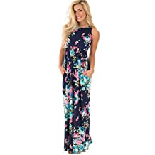 Walant Women's Sexy Flower Printed Sleeveless Maxi Dress