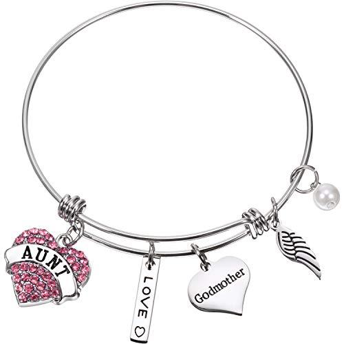 Zhanmai Aunt Godmother Bangle Bracelet Jewelry Gift Heart Shape Rhinestone Charm Expandable Bracelet Bangle Present for Godmother Aunt (Pink)