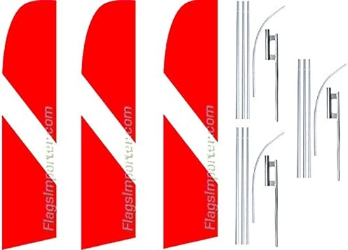 3 Swooper Flutter Feather Flags plus 3 Poles /& Ground Spikes Dive Swooper Flutter Slash Line Red White