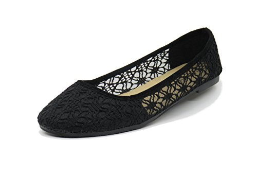 Blue Berry EASY21 Casual Solid Crochet Comfort Lady Flats Loafers Kelly-11 Kelly-11,Black,Size 6.5