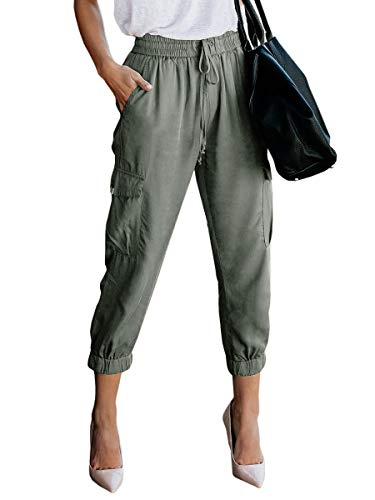 - Women's Elastic Waist Cargo Casual Drawstring Pants Ankle Length Jogger Cropped Trousers with Pockets Green