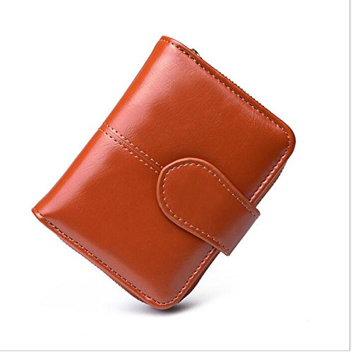 (NEWANIMA Women Pu Two fold Leather Square Shaped Card Holder Wallet (brown))