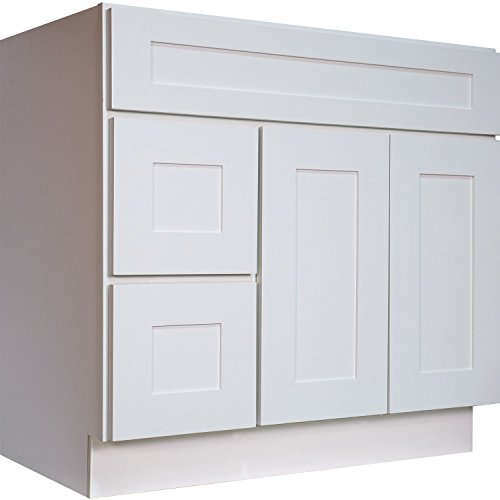 Everyday Cabinets  SWHVSD3621DR Bathroom Vanity Single Sink Cabinet in White Shaker with Soft Close Doors and Drawers (Left), 36