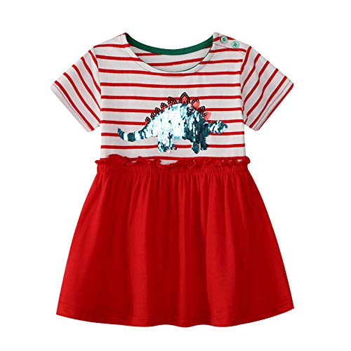 Baby Girls Causal Dress Dinosuar Printed Cotton Tunic Summer Clothes 6t -