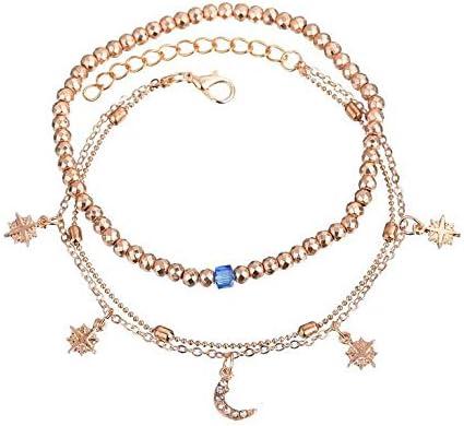Dusenly Mode femmes plage cheville Bracelet de cheville Accessoires de cha/îne de pied pour fille Perles /étoiles de lune Style Accessoires de charme pieds nus