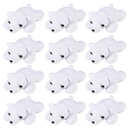(Wildlife Tree 3.5 Inch Polar Bear Mini Small Stuffed Animals Bulk Bundle of Zoo Animal Toys or Arctic Animal Party Favors for Kids Pack of 12)