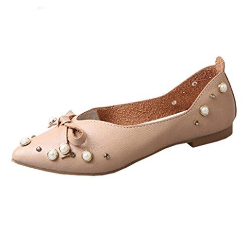 Hunpta Frauen Casual Schuhe Flats Slip-On Fliege Single Schuhe Braun