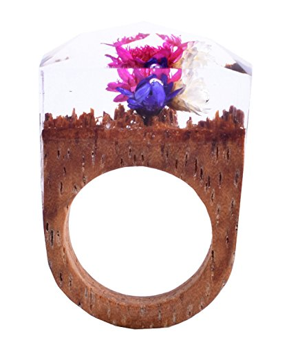 Handmade Natural Wood Resin Rings Mystery Flowers Valentines' Jewelry(9)