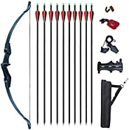 Vogbel Archery Recurve Bow and Arrows Set for Adults 30lb 40lb Takedown Bow Left and Right Hand Longbow Kit fo