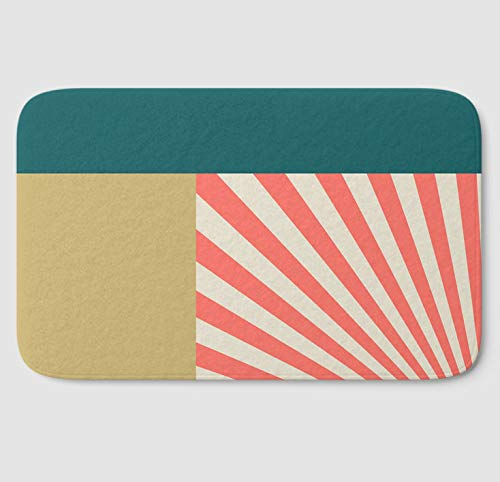 Amazon.com: Coral Color Block Bath Mat | Modern Memory Foam ...