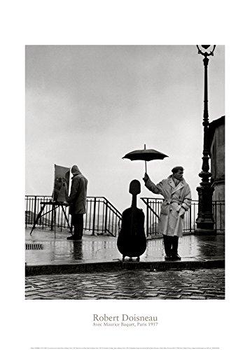dise/ño de m/úsico bajo la Lluvia Nouvelles Images P/óster Maurice Baquet, Par/ís, 1957, Foto Tomada por Robert Doisneau 50 x 70 cm