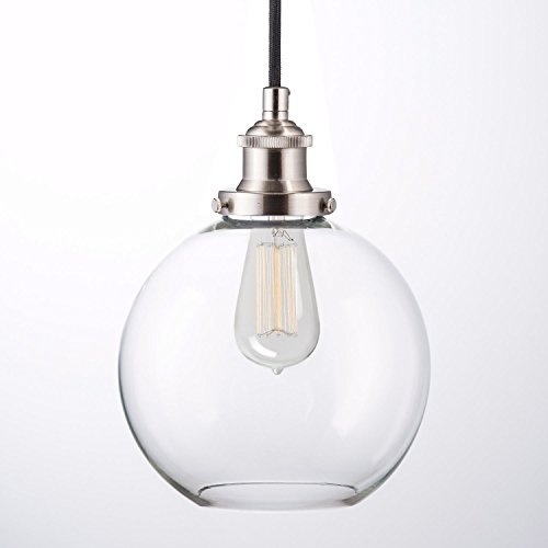 Primo Industrial Factory Pendant L& - Brushed Nickel One-Light Fixture with Glass Shade Fabric Wrapped Cord Exposed Hardware - 5-Inch Canopy - Downlight ...  sc 1 st  Amazon.com & Clear Globe Pendant Light: Amazon.com azcodes.com