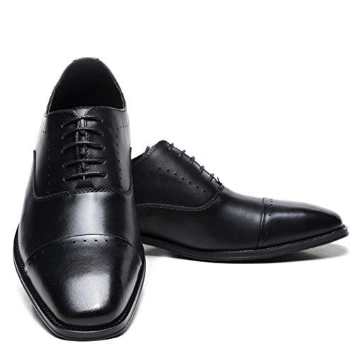 MERRYHE Scarpe Brogue In Vera Pelle Con Lacci Oxford Per Uomo Scarpe Eleganti Con Tacco Medio Scarpe Da Lavoro Da Uomo Black