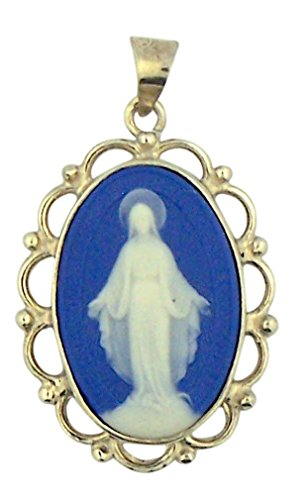HMHReligiousMfg Blue Cameo Miraculous Medal in Filgree Sterling Silver Frame 1 3/4 Inch