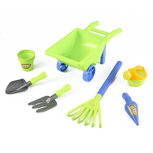 Gardening Toy Tools Set with Pots, Water Pail and Wheelbarrow (7 Pcs) Also for Beach Play