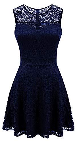 Sylvestidoso Women's A-Line Sleeveless Pleated Little Dark Navy Blue Cocktail Party Dress Full Lace (XXL, Navy)