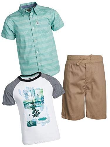 Ben Sherman Boy's 3 Piece Drawstring Short Set with Woven Shirt and Tee, Khaki/Teal/White, Size 2T' ()