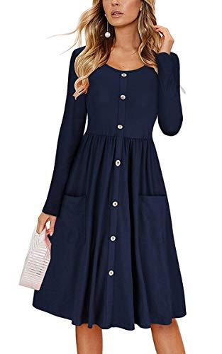 Les Robes D'été Femmes Angashion Bouton Floral Courroie De Spaghetti Bohème Balancer Vers Le Bas Poches Robe Midi 0306 Bleu Marine