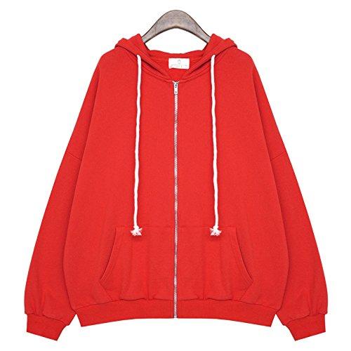 Xing Lin Top Con Cappuccio In Autunno Il Nuovo Colore Solido Tasca Con Zip Fuori La Camicia Giacca Con Cappuccio A Manica Lunga Maglione Allentati Femmina