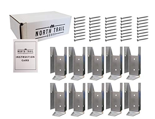 Fence Bracket Repair Kit | 10 Pack Galvanized Brackets for 2x4 Wood Rail | Includes 40 Galvanized Screws and Instruction Card | Packaged by North Trail Goods