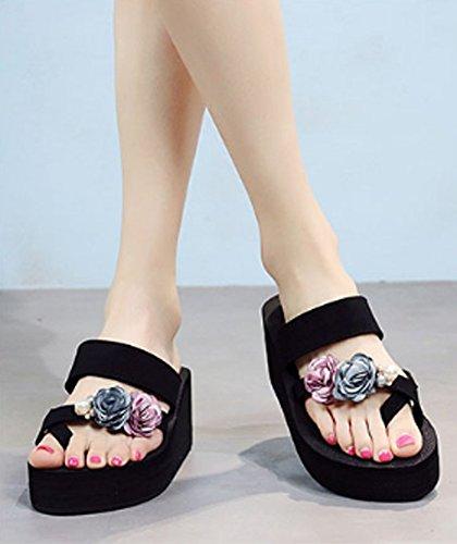 Ajunr Moda/elegante/Transpirable/Sandalias Zapatillas La Toda la correspondencia de suela gruesa 7cm con polvo de flores de color azul La pendiente ,36 36