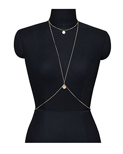 Women 2 Layers Gold Plated Coins Disc Necklace Gold - 7