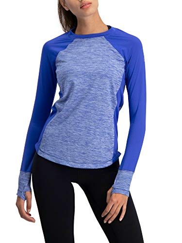 Long Sleeve Compression Workout Tops for Women - Thermal Running Shirt, Dry Fit w/Thumbholes Royal Blue