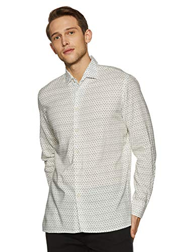 - Casual Terrains Men's Classic-Fit Long-Sleeve Floral Camp Shirt Small White