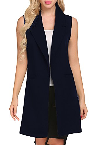 Women's Oversized Open Duster Blazer Vest Longline Sleeveless Waistcoat Jacket Cardigan Coat (XXL, Navy Blue) (Black Long Vest)