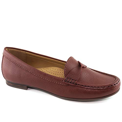 Club Brown Leather - Driver Club USA Womens Leather Made in Brazil San Diego Loafer Driving Style, Walnut Grainy, 6 M US