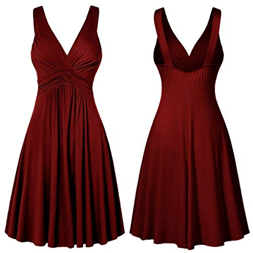 (HIRIRI Women's Large Size Sexy V-Neck Backless Sling Pleated Slim Flare Skirt A-Line Dress Large Swing Dress Red)