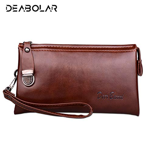 Amazon.com: Men Leather Long Wallet Cartera Hombre Male ...