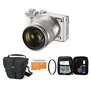Nikon 1 J5 Mirrorless Digital Camera with 1 NIKKOR 10-100mm VR Lens - White - Bundle with Camera Case, 16GB Class 10 MicroSDHC Card, 55mm UV Filter Cleaning Kit
