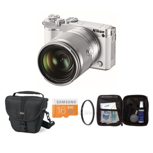 Nikon-1-J5-Mirrorless-Digital-Camera-with-1-NIKKOR-10-100mm-VR-Lens-White-Bundle-with-Camera-Case-16GB-Class-10-MicroSDHC-Card-55mm-UV-Filter-Cleaning-Kit