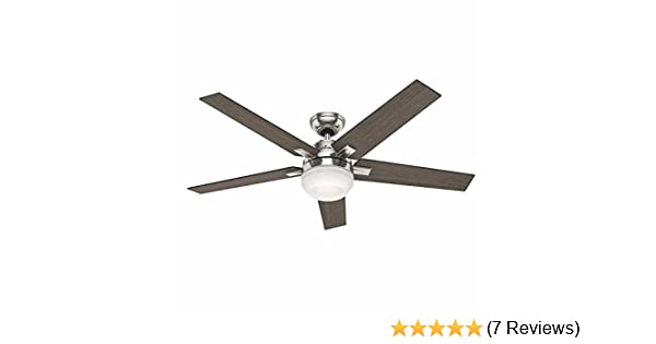 Amazon Com Hunter Apex 54 Contemporary Design In Brushed Nickel Ceiling Fan With White Frosted Glass Cased Led Features 5 Reversible Grey Walnut Blades And Reversible Motor Handheld Remote Control Included Kitchen Dining