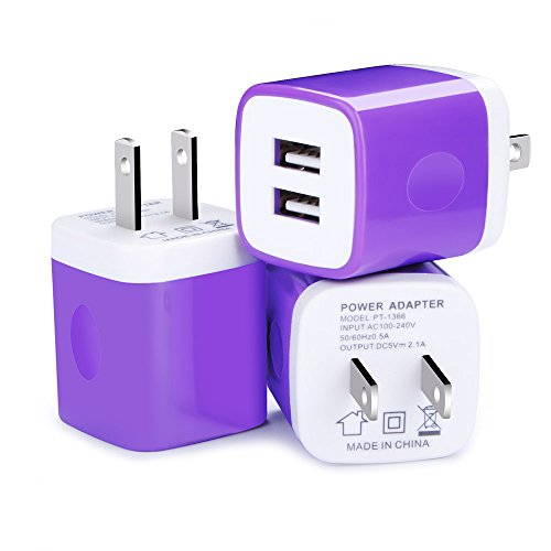 USB Wall Charger, Kakaly 3-Pack Charger Brick,Phone Cube,USB Brick,2.1A/5V Dual Port USB Plug Power Adapter Charging Cube Compatible for iPhone X 8/7/6 Plus SE/5S/4S,iPad, iPod, Samsung, Android Phone