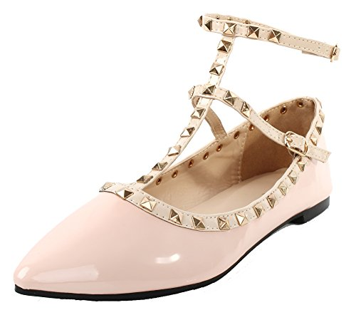 Plat Femme Rivets Escarpins Creux Ballerines AgeeMi Boucle Shoes Rose Décorations 15wpt5qFx