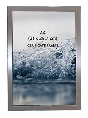(Beautiful Satin Silver Colour A4 / Certificate / Picture Photo Frame - Portrait Or Landscape - 21 X 29.7 Cm)