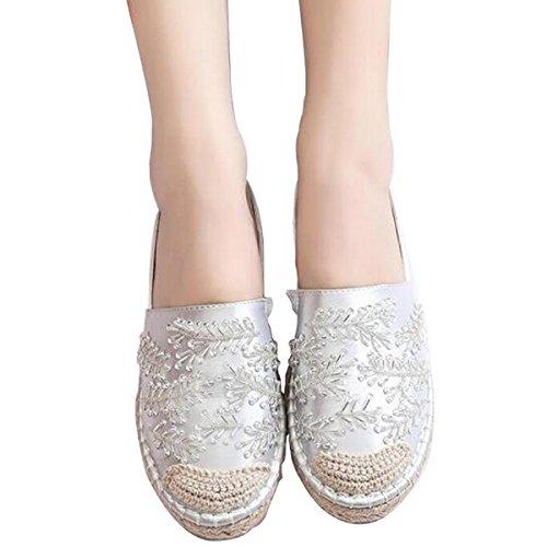 Printemps Automne Tissu Lisse Chanvre Patchwork Mode Mocassins Rhinstone Pour Les Femmes Chaussures Argent