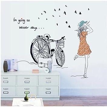 Ciclismo Bicicleta niñas letras en inglés paredes decoradas ...