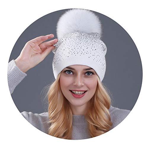 Women Winter Beanie hat Rabbit Fur Wool Knitted hat The Female of The Mink pom pom Shining Rhinestone Hats for Women,Fox White