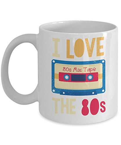 I Love The 80s Mix Cassette Tape Distressed Coffee & Tea Gift Mug, 80 s Themed Gifts for Men & Women (11oz)