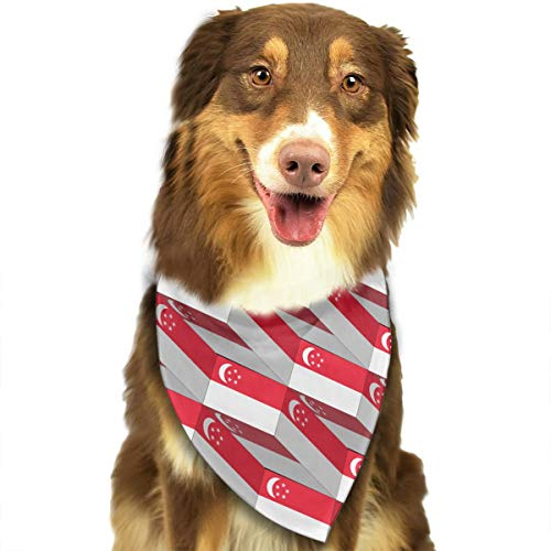 ZZJIAK Dog Bandana Scarf Singapore Flag 3D Art Pattern Triangle Bibs Printing Kerchief Set Accessories Dogs Cats Pets