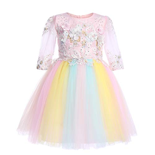 Flower Girl Rainbow Unicorn Dress up Costume Colorful Ruffle Tulle Skirt Birthday Dresses Tutu Outfit for Kids Party Formal Wedding Pageant Ball Gown Big Girls First Communion Prom Dress Pink 4-5Y