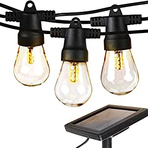 Brightech Ambience Pro – Waterproof, Solar Powered Outdoor String Lights – 27 Ft Vintage Edison Bulbs Create Bistro…