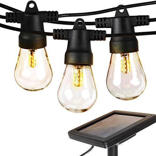 Solar Hanging Plastic Lights (Brightech Ambience Pro - Waterproof LED Outdoor Solar String Lights - Hanging 1W Vintage Edison Bulbs - 27 Ft Heavy Duty Patio Lights Create Cafe Ambience On Your Porch)
