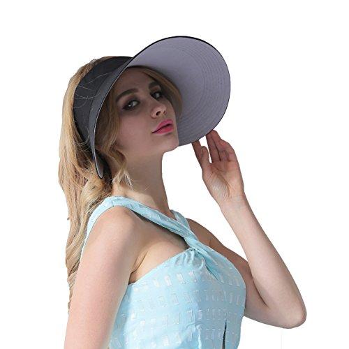 CACUSS Women's Summer Sun Hat Large Brim Visor Adjustable Velcro Packable UPF 50+ (Black) by CACUSS (Image #3)